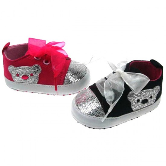 Soft Touch Twill baby girl Sneakers with Organza Lace & Glitter Bear Applique (0-12mths)