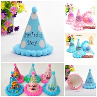 New Design Birthday Cone Hats with pompoms- Blue & Pink
