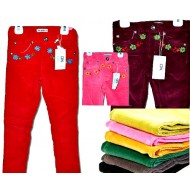 Okaidi Obaibi Girls Stretch Flower Embroidered Skinny Cord Pants- assorted colours (1-10yrs)