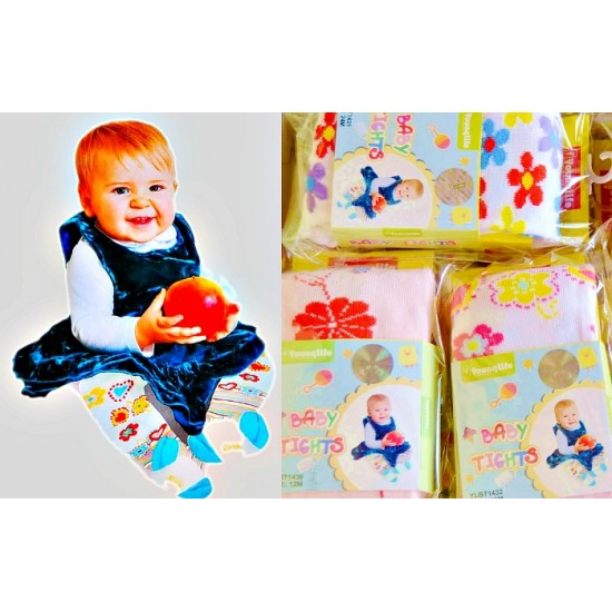 Younglife Baby Floral Tights with Foot- assorted designs- 0-24mths