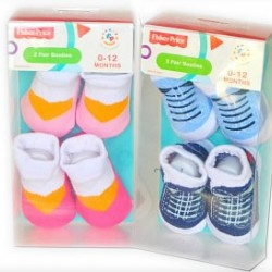 Fisher Price baby 2 pair booties in pack (0-6mths)