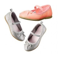 Carter's Glitter Ballet Flats- Silver / Ruby (US Size 6-12)