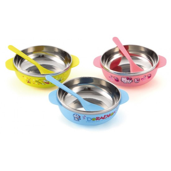 Baby Cartoon Stainless Feeding Bowl & Spoon Set- Hello Kitty, Doraemon, Spongebob