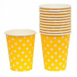 Yellow Polka Dot Paper Drinking Cups