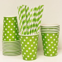 Green Polka Dot Paper Drinking Cups