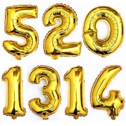 Large Number Helium Foil Birthday balloons - Silver/Gold