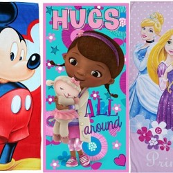 100% COTTON KIDS CHARACTER BEACH/BATH TOWELS - ASSORTED DESIGNS