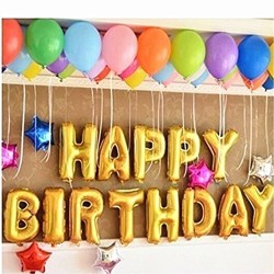 """HAPPY BIRTHDAY"" Phrase Large Helium Foil Balloons - 13pcs pack"