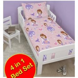 Disney Sofia The First Academy Junior / Toddler Duvet Cover & Pillowcase Set- 4 piece set