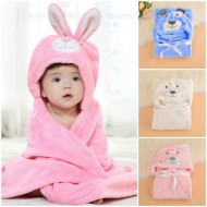 Baby Cute Hooded Animal Fleece Wrap/Blanket - 3 colours