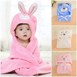 Baby Cute Hooded Animal Fleece Wrap/Blanket - 3 colours