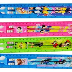 Fancy Cartoon Ruler Stationery Set- 5pcs set- assorted designs