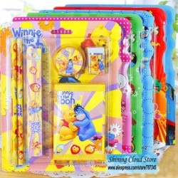 Character 6pc stationery set with WALLET- assorted (pack of 12)- Winnie,Mickey, Dora