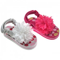 Girls floral sandals with flower applique by Soft Touch (12mths-24mths)