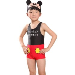 Cute Mickey Toddler One piece Swimsuit & Cap- 2yrs