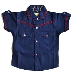 Baby Boys Blue Short Sleeve Shirts (9-12mths, 12-18mths)