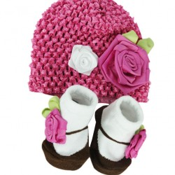 Luvena Fortuna Baby Girl Booties & Beanie Hat Gift Set (0-12 mth)- 2 designs