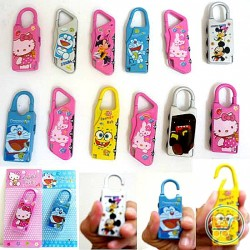 Cartoon Mini 3 Digit Dial Resettable Combination Travel Luggage Suitcase Padlock- assorted
