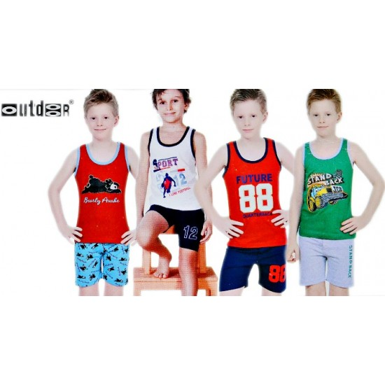 OUTDOOR Boys Sleeveless Cotton Top with Shorts Set- 1-10yrs