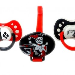HARLEY QUINN BABY PACIFIER 3 PC SET