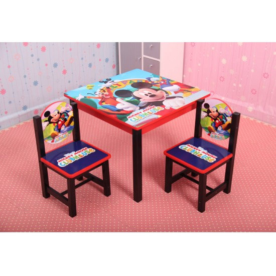 Fantastic Disney Kids Wooden Table And 2 Chairs Set Cars Pooh Princess Mickey Evergreenethics Interior Chair Design Evergreenethicsorg