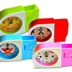 Cartoon Kids Alarm Quartz Clock and Pen Stand- 4 designs
