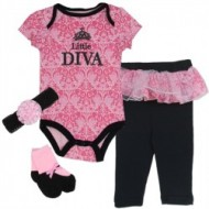 Soft Touch Baby girls 'LITTLE DIVA' 3 PIECE SET- headband, bodysuit, pants with tutu skirt (3mths)