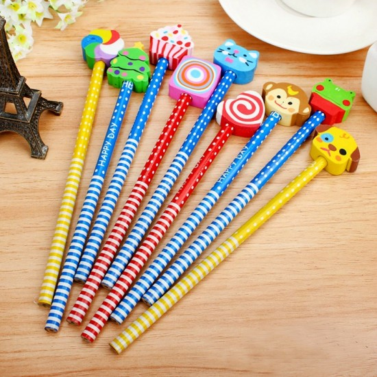 Cute Wooden Pencils with Novelty Eraser Toppers- 10pack