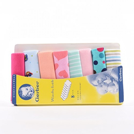 Gerber Wash Cloth (Pack Of 8) - Multicolour