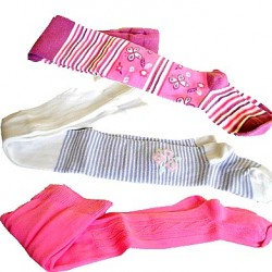 Girls Assorted Patterned & Plain Cotton Tights- Size 0-5yrs