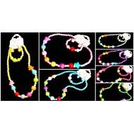 Girls Colourful Bead, Bangle & Earring Set- assorted colours