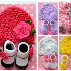 Baby Girls Flower Beanie Hat & Booties Set- Lilac