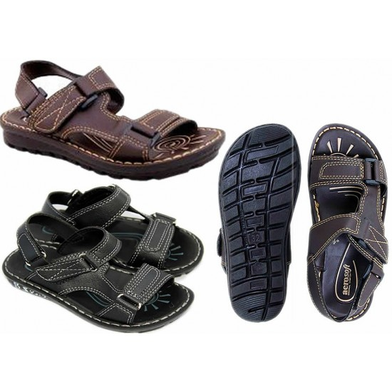 AEROSOFT Boys Sandals - Coffee Brown & Black (Size 34,35,)