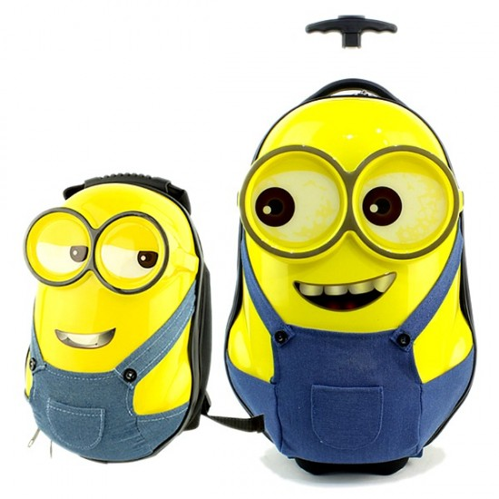 18inch & 13inches 3D ABS Hard Shell Minions Trolley & backpack set