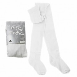 Nifty Girls Knitted Plain Rich Cotton White Tights ( 1-8yrs)
