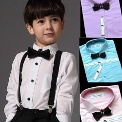 Kaerbindu Boys Formal Shirt with bow tie (3 colours- blue, pink, lilac) 1-8yrs