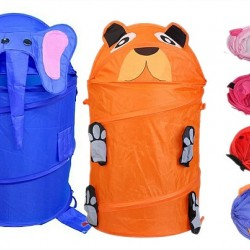 Large Cute Animal Folding Cylinder Laundry Hamper in Bag- assorted designs
