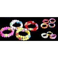 Girls pretty spiral bead wire bangles- assorted designs