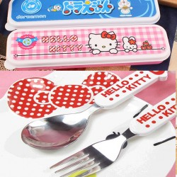 Cartoon 3d Kids Cutlery in Case- Kitty, Doraemon, Spongebob