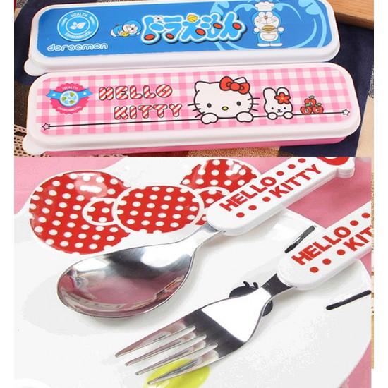 Cartoon 3d Kids Cutlery in Case- Kitty, Doraemon, Spongebob