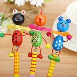 Cartoon Wooden Animal Kids pencils with Bobbing Head- assorted