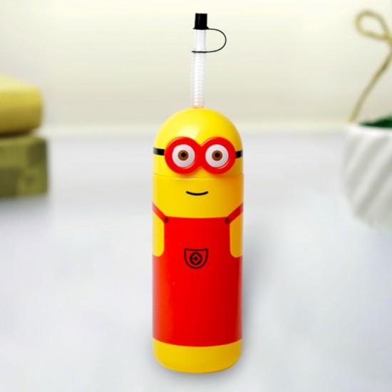 Minions Plastic Straw Drinks Bottle