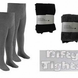 Nifty Baby Girls Knitted Cotton Rich Tights- Grey, Black (3-4yrs, 6-7yrs)