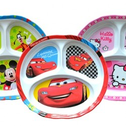 Fun Kids Cartoon 3-Section Plates- Assorted Characters