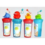Animal Plastic Drink Cup with lid & Straw- assorted designs