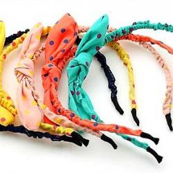 Cute Polka dot  Bunny Fabric Headband assorted colours