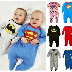 Character Baby Boys/Girls Long Sleeve Footed Sleeper- Superman, Batman, Supergirl, Scoobydoo (0-12mths)