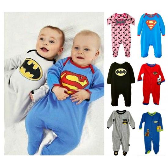 Character Baby Boys/Girls Long Sleeve Footed Sleeper- Superman, Batman, Supergirl, Scoobydoo (0-12mths)
