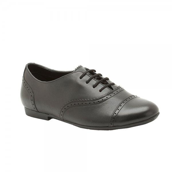 Black Leather School Shoe- UK