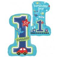 1st Birthday Boy SuperShape Foil Balloon